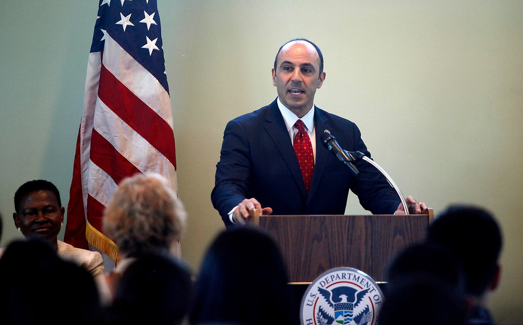 . Congressman Jimmy Panetta speaks to approximately one hundred new U.S. Citizens during their naturalization ceremony at the Cesar Chavez Library in Salinas on Friday, March 31, 2017.  (Vern Fisher - Monterey Herald)