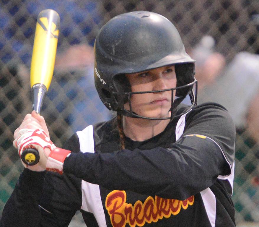 . Pacific Grove\'s Danielle Pasquariello bats during softball against Carmel at Pacific Grove Municipal Softball Park on Thursday April 6, 2017. (David Royal - Monterey Herald)