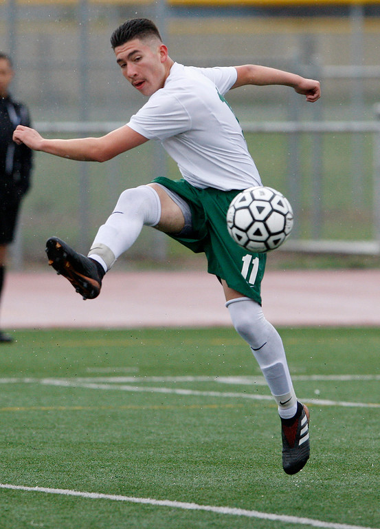 . Alisal High School\'s Jose Trejo (11) controlls the ball during their CIF Nor Cal DII Championship match in Salinas on Saturday, March 10, 2018.  Alisal went on to win the Nor Cal DII boys soccer title 3-1.  (Vern Fisher - Monterey Herald)