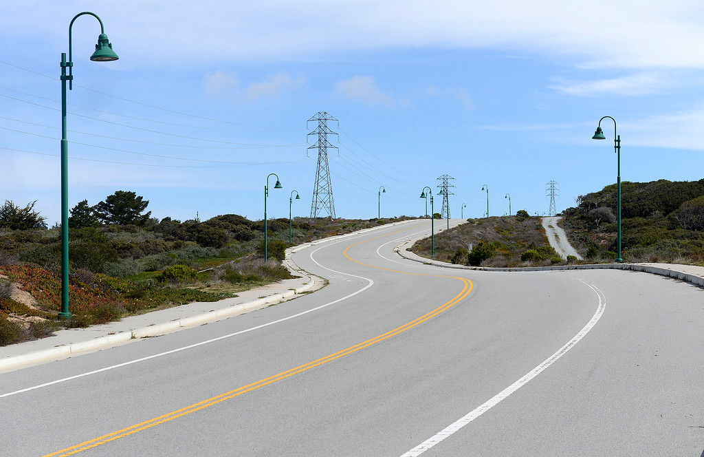 . Looking East at the proposed Eastside Parkway at the unused Eucalyptus Road at Coe Ave. and Gen Jim Moore Blvd. in Seaside on Friday, March 9, 2018.  (Vern Fisher - Monterey Herald)