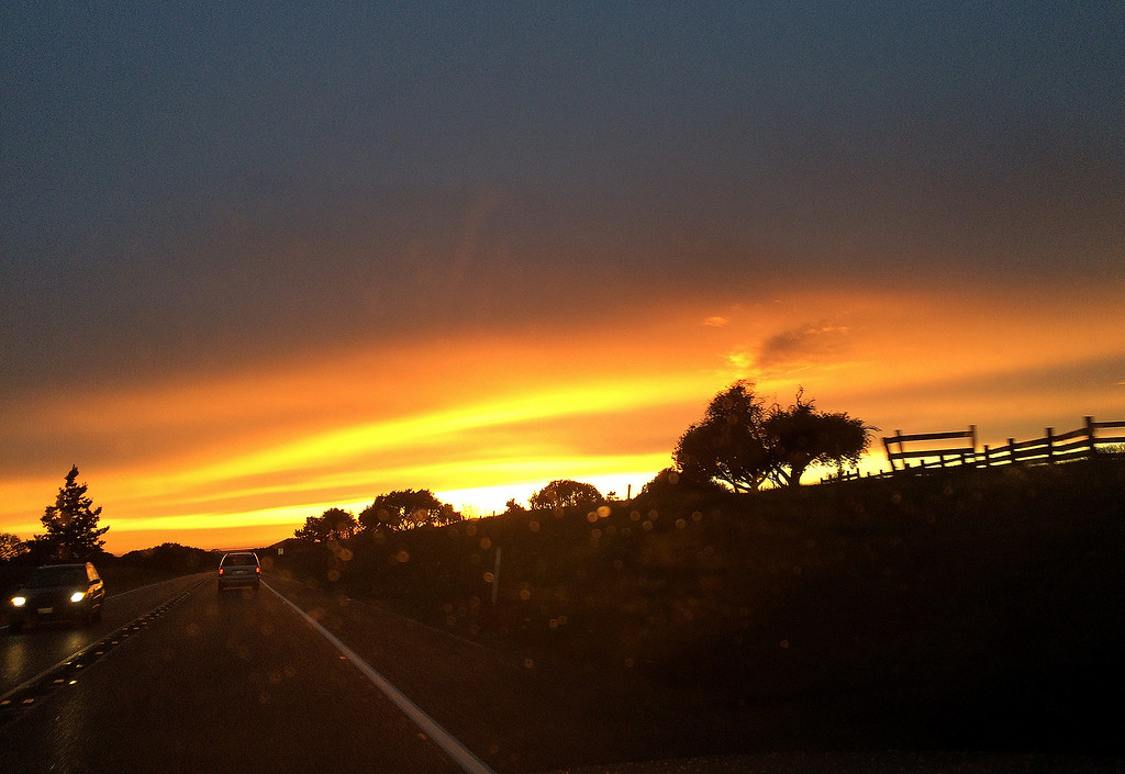 . The setting sun from Highway 156 in Castroville on Saturday, March 10, 2018.  (Vern Fisher - Monterey Herald)