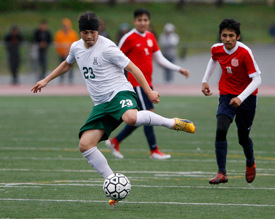 . Alisal High School\'s Carlos Pacheco (23) controlls the ball during their CIF Nor Cal DII Championship match against Richmond High School in Salinas on Saturday, March 10, 2018.  Alisal went on to win the Nor Cal DII boys soccer title 3-1.  (Vern Fisher - Monterey Herald)