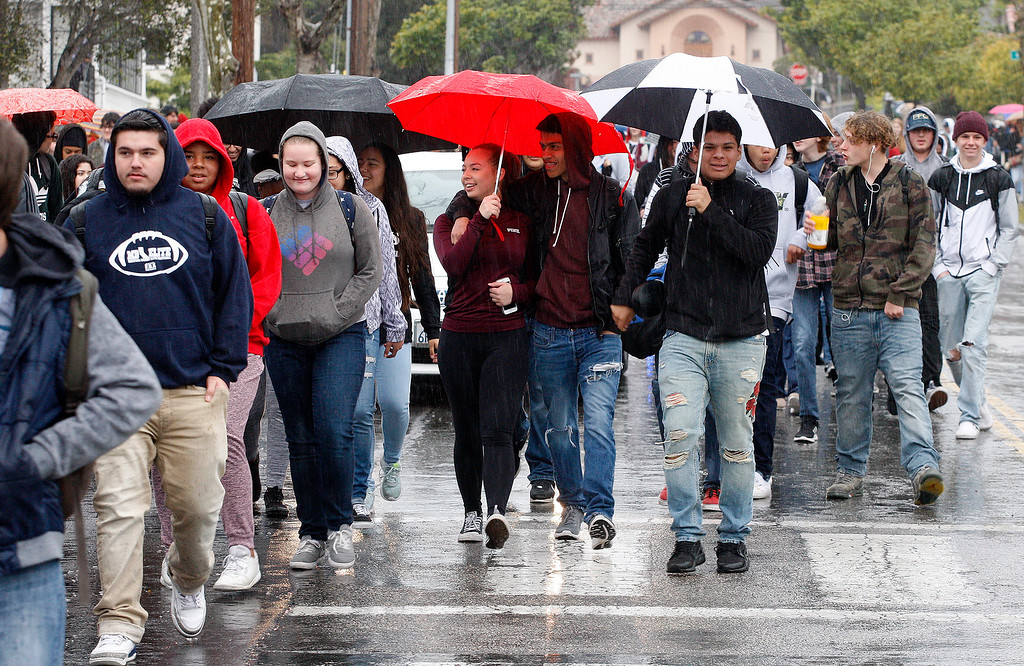. Monterey High School students participate in the National School Walkout Day on Wednesday, March 14, 2018.  (Vern Fisher - Monterey Herald)
