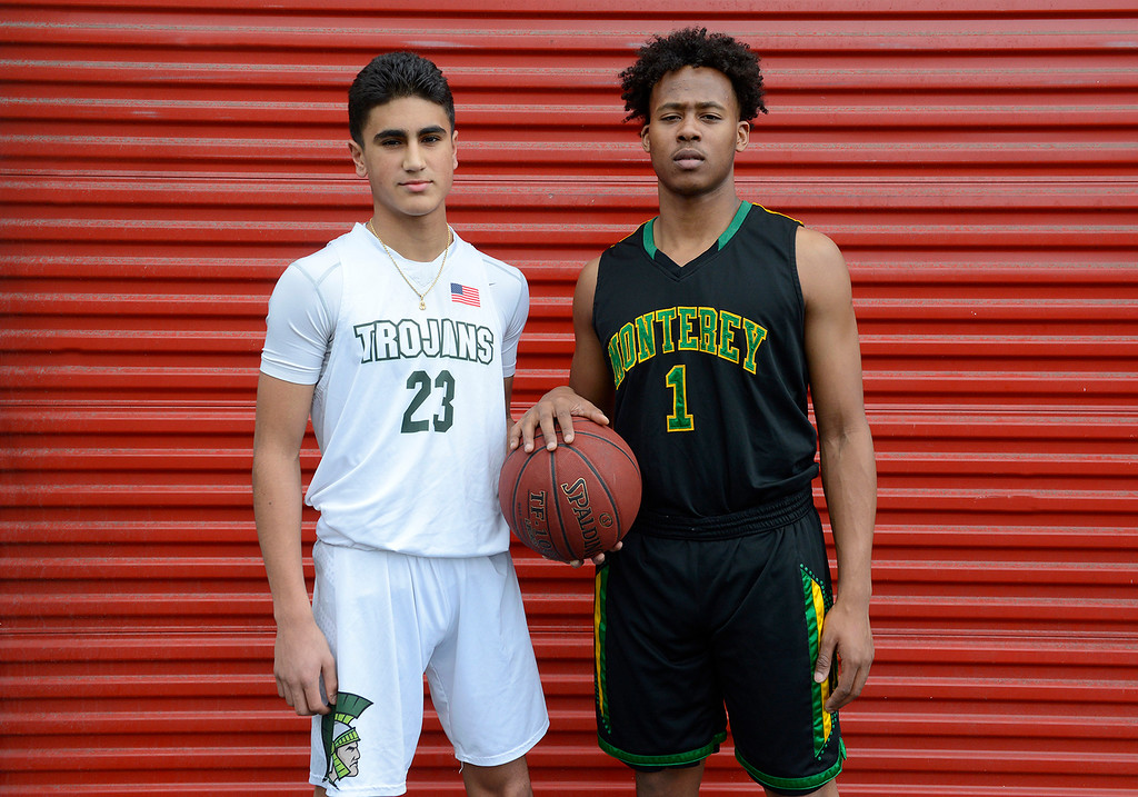 . Josue Gil-Silva of Alisal High School and Mohammed Adam of Monterey High School All County boys basketball Players of the Year on Tuesday, March 13, 2018.   (Vern Fisher - Monterey Herald)