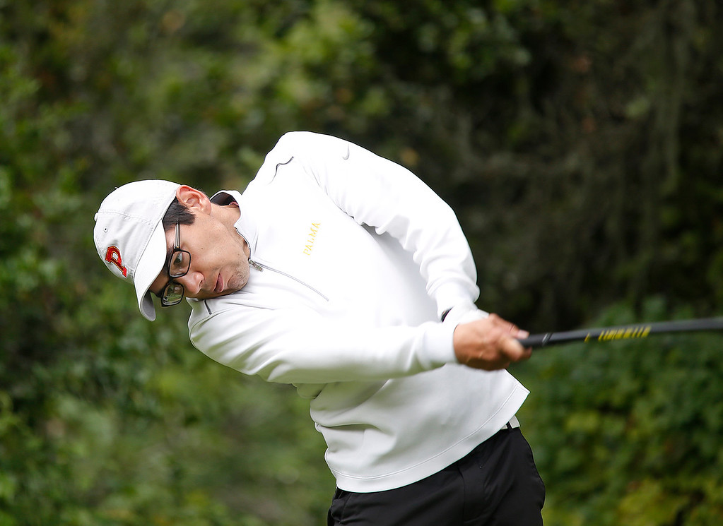 . Palma\'s Joey Burlison tees off on the sixth hole during the CCS Boys Golf Championship at Laguna Seca Golf Ranch in Monterey on Tuesday May 15, 2018. (David Royal/ Herald Correspondent)