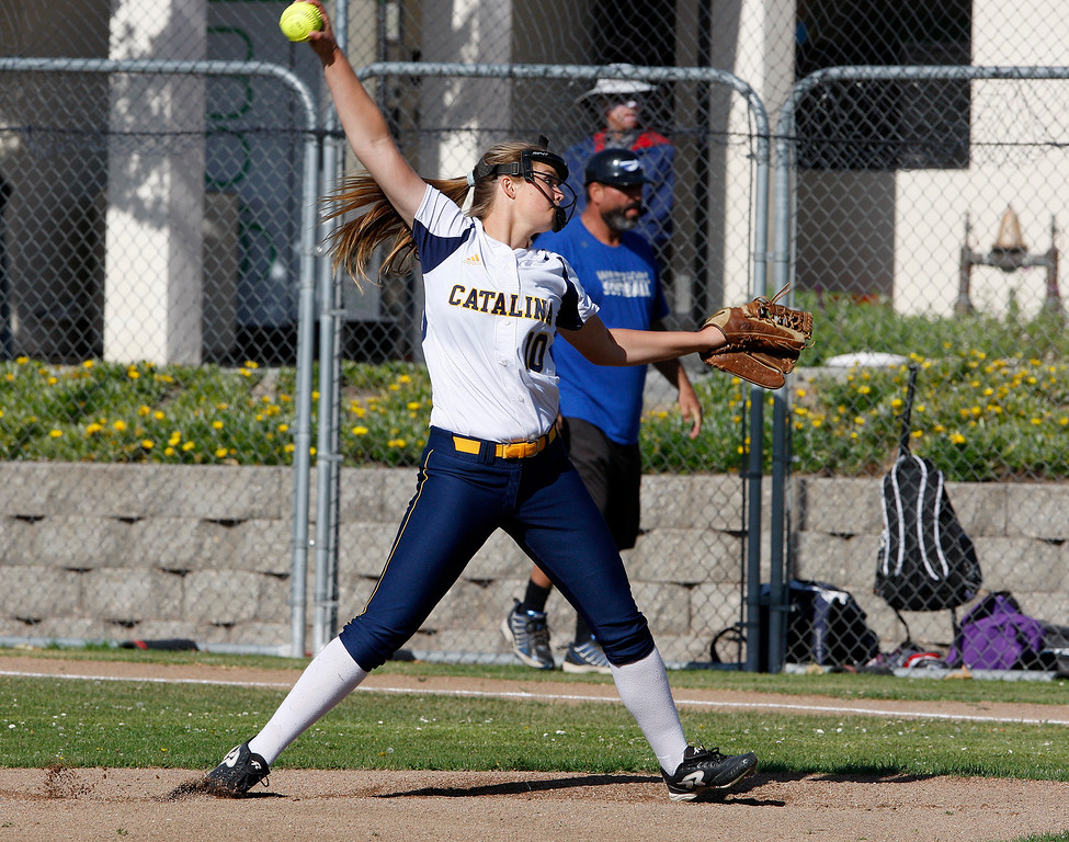 . Santa Catalina\'s Emma James (10) delivers a pitch during their game against South San Francisco High School in Monterey on Wednesday, May 16, 2018.  (Vern Fisher - Monterey Herald)