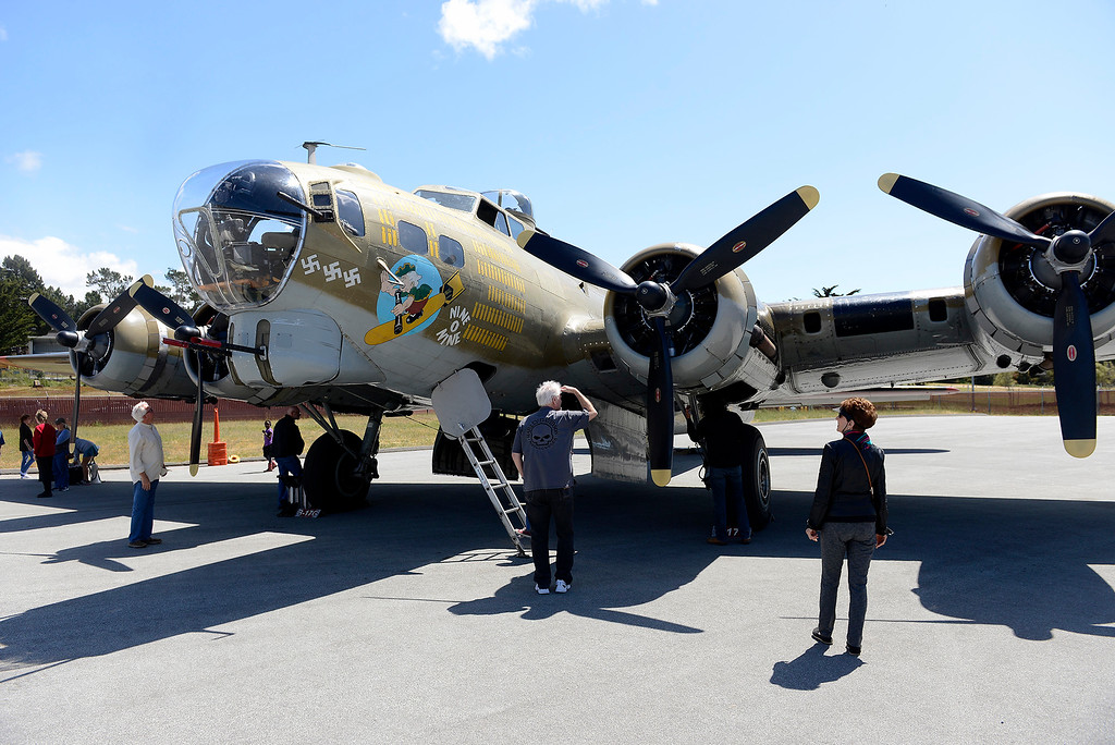. A B-17 Flying Fortress at Monterey Regional Airport on Wednesday, May 17, 2018 as part of the annual Wings of Freedom visit.  (Vern Fisher - Monterey Herald)