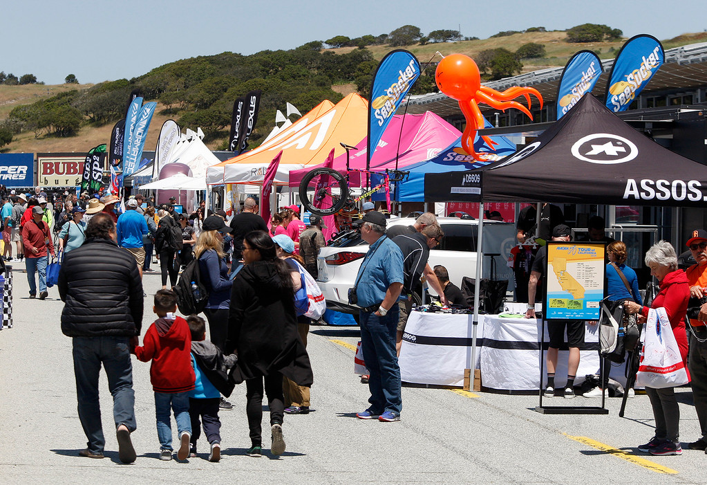 . A carnival like atmosphere for the Stage 3 finish at Laguna Seca Raceway in Monterey on Tuesday, May 15, 2018 during the Amgen Tour of California.  (Vern Fisher - Monterey Herald)