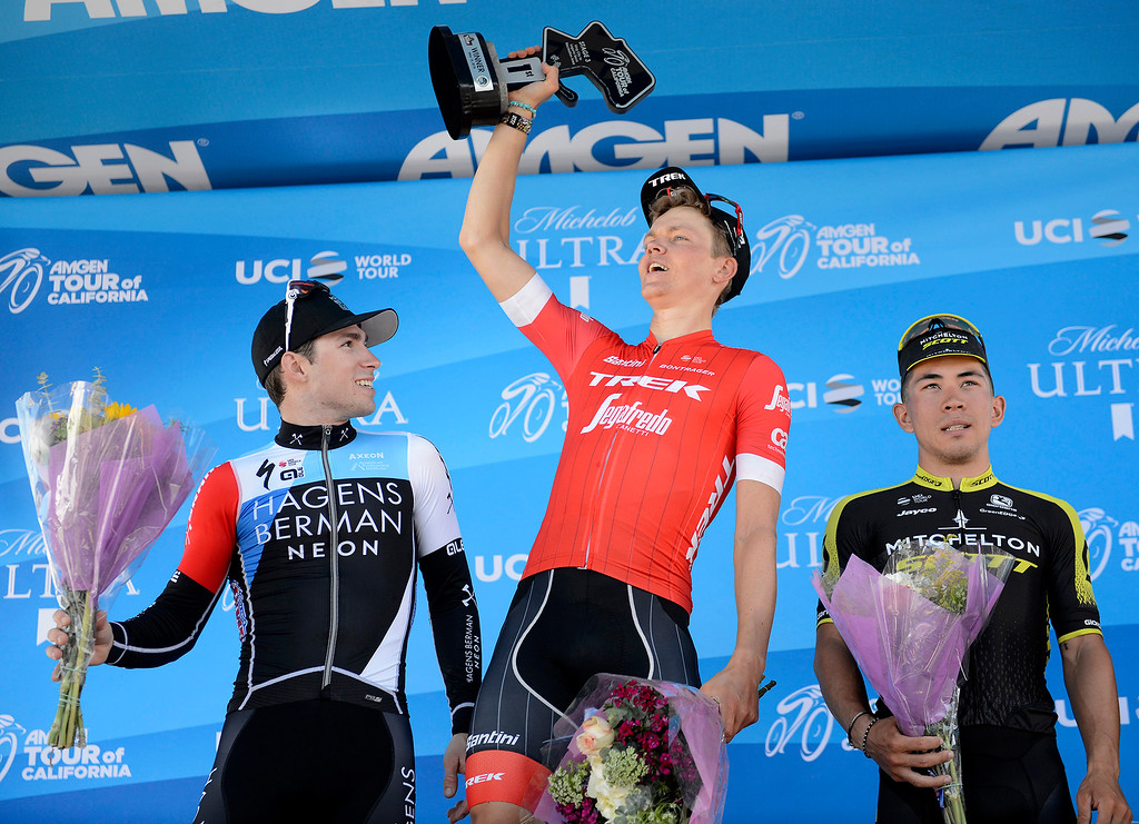 . Sean Bennett, Toms Skujins and Caleb Ewan the top three riders during the Stage 3 finish at Laguna Seca Raceway in Monterey on Tuesday, May 15, 2018 during the Amgen Tour of California.  (Vern Fisher - Monterey Herald)