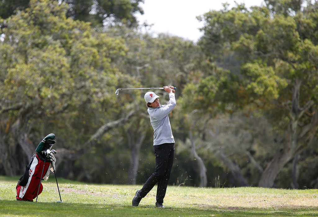 . Palma\'s A. J. Fitzgerald hits his ball on the fifth fairway during the CCS Boys Golf Championship at Laguna Seca Golf Ranch in Monterey on Tuesday May 15, 2018. (David Royal/ Herald Correspondent)