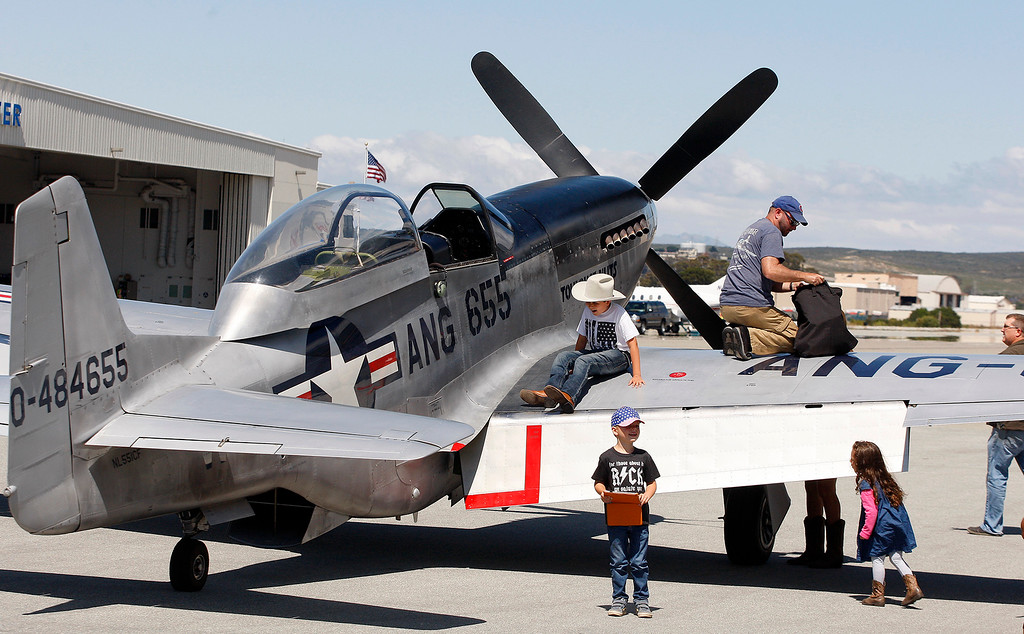 . A P51 Mustang at Monterey Regional Airport on Wednesday, May 17, 2018 as part of the annual Wings of Freedom visit.  (Vern Fisher - Monterey Herald)