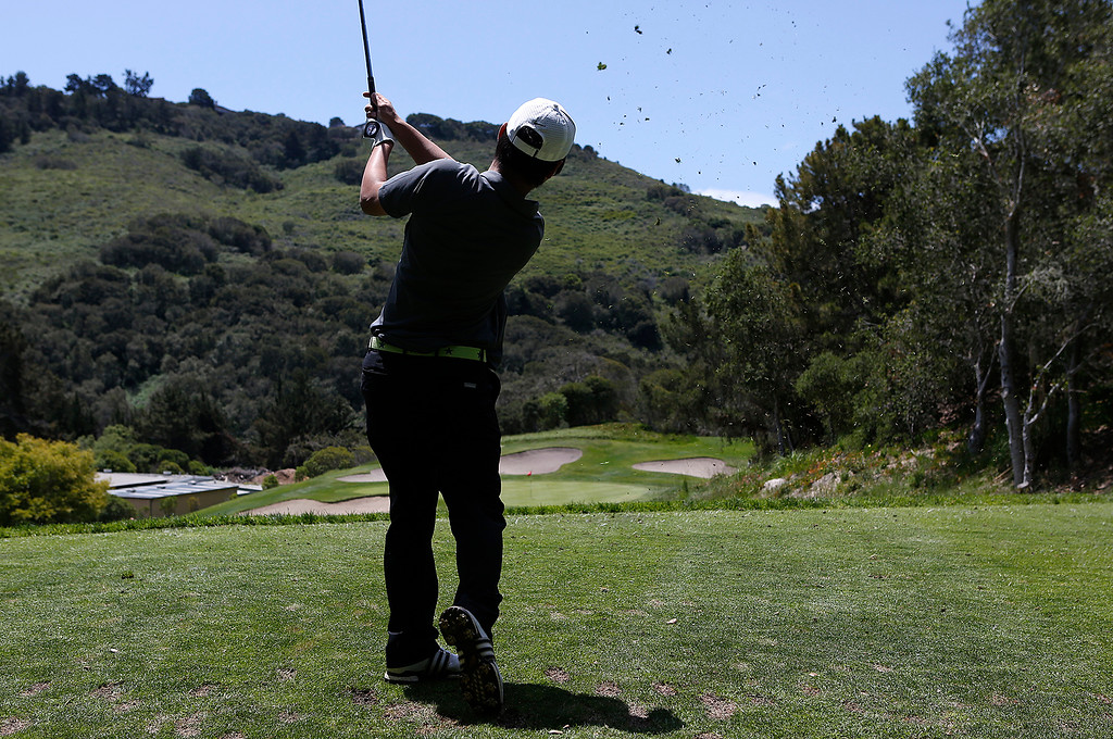 . Stevenson\'s Robert You tees off on 17th hole during the CCS Boys Golf Championship at Laguna Seca Golf Ranch in Monterey on Tuesday May 15, 2018. (David Royal/ Herald Correspondent)