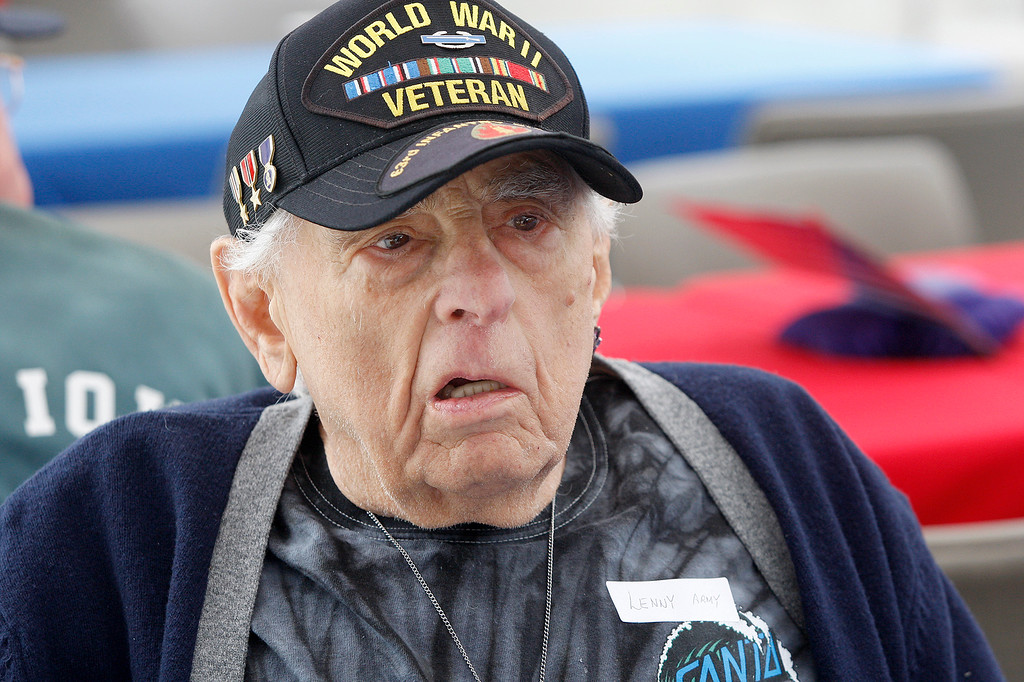 . World War II veteran Lenny Bernstein, 92, from Monterey enjoys the bbq at the Veterans DoD clinic in Marina on Thursday, May 24, 2018.  (Vern Fisher - Monterey Herald)