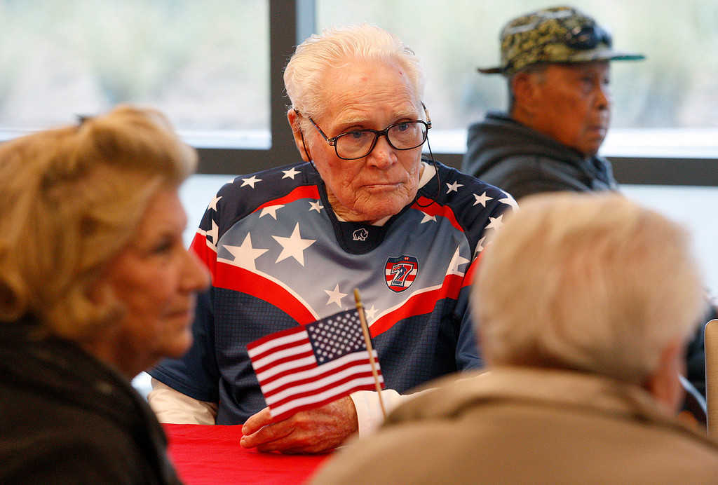 . World War II veteran Bob Reiter, 91, from Monterey enjoys the bbq at the Veterans DoD clinic in Marina on Thursday, May 24, 2018.  (Vern Fisher - Monterey Herald)