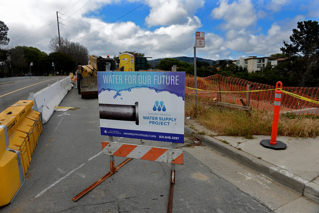 . The construction site at Garden and Fairground Roads in Monterey on Wednesday, May 23, 2018 that will be used for the water delivery pipeline by Cal Am over the Highway 68.   (Vern Fisher - Monterey Herald)