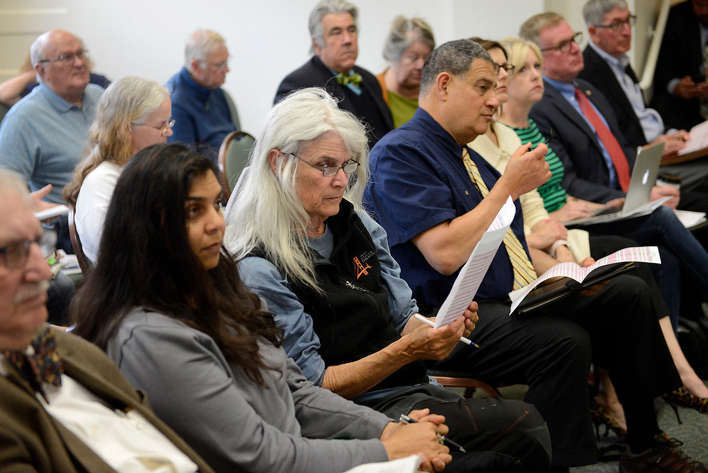 . Pacific Grove residents attend a special meeting on Tuesday, May 22, 2018 for a lottery to determine restrictions on short-term rental properties.  (Vern Fisher - Monterey Herald)