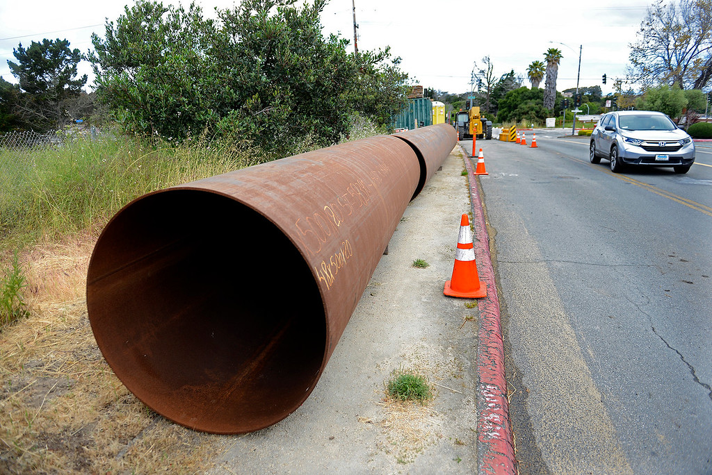 . Section of pipe on Garden Road in Monterey on Wednesday, May 23, 2018 that will be used for the water delivery pipeline by Cal Am over Highway 68.   (Vern Fisher - Monterey Herald)
