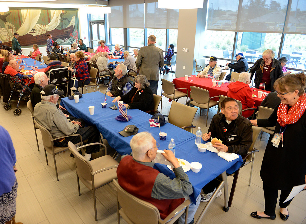 . Veterans enjoy a bbq at the Major General William H. Gourley VA-DoD Outpatient Clinicin Marina on Thursday, May 24, 2018.  (Vern Fisher - Monterey Herald)