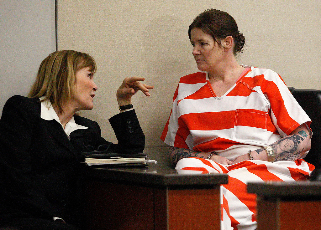 . Attorney Marcia Morrissey talks with her client Tami Huntsman as she appears in court for a sentence of life in prison without the possibility of parole for the torturing and killing of her six year-old nephew and three year-old niece on Friday, May 18, 2018.  (Vern Fisher - Monterey Herald)