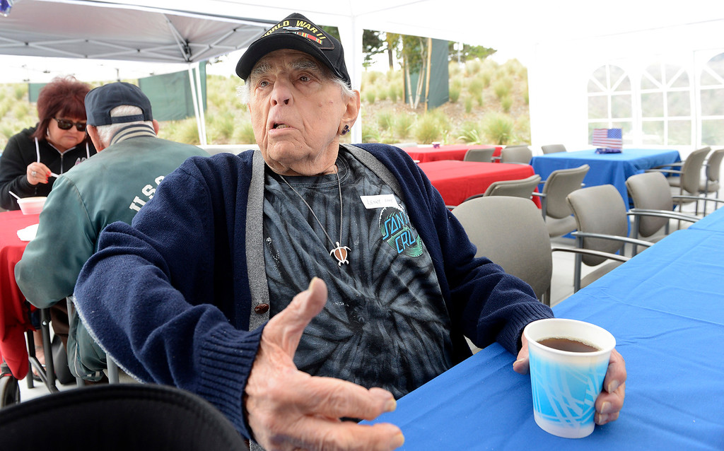 . World War II veteran Lenny Bernstein, 92, from Monterey enjoys the bbq at the Major General William H. Gourley VA-DoD Outpatient Clinic in Marina on Thursday, May 24, 2018.  (Vern Fisher - Monterey Herald)