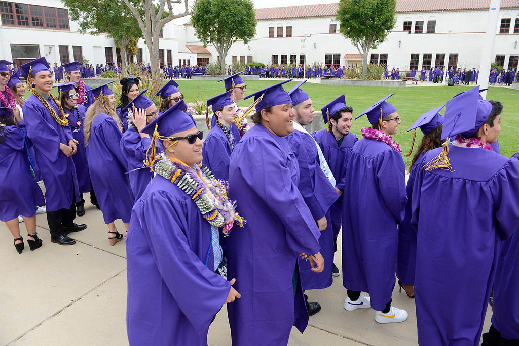 . Graduating seniors at Salinas High School on Thursday, May 24, 2018.  (Vern Fisher - Monterey Herald)