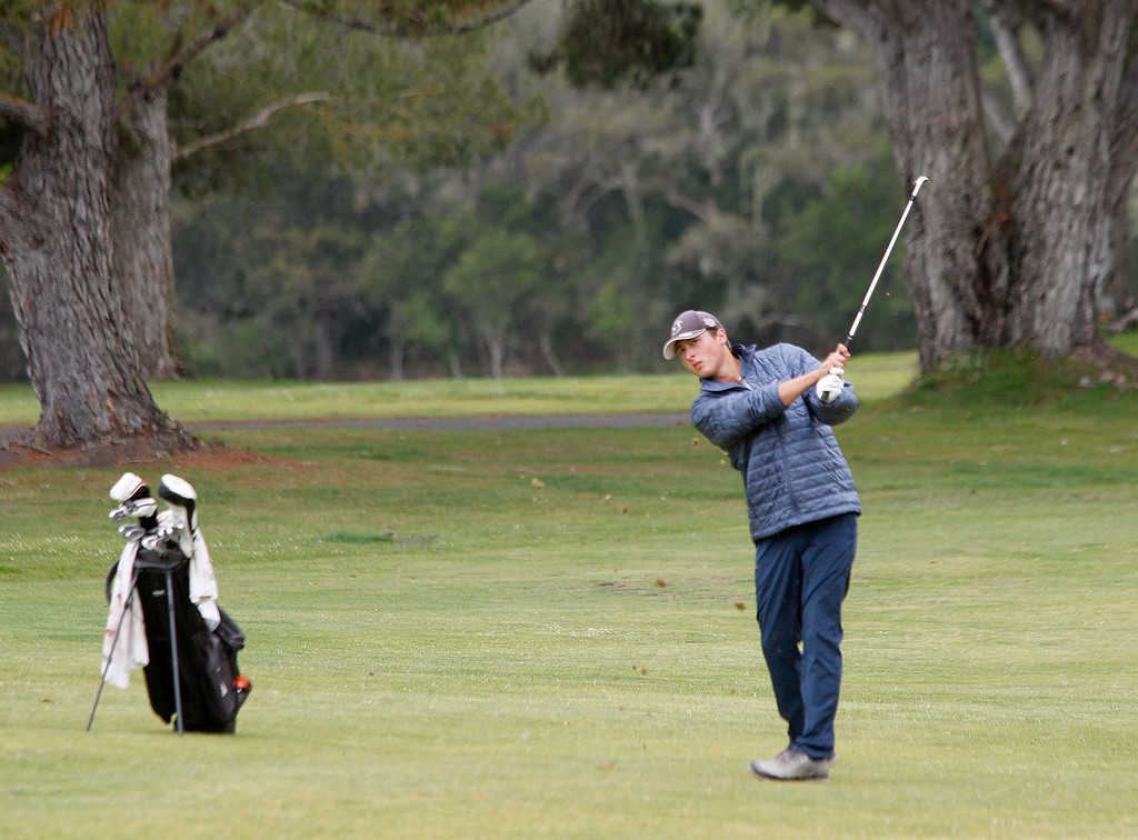 . Kirby High School\'s Alec Phillips at the Laguna Seca Golf Course during the CCS regional golf finals on Tuesday, May 8, 2018.  (Vern Fisher - Monterey Herald)