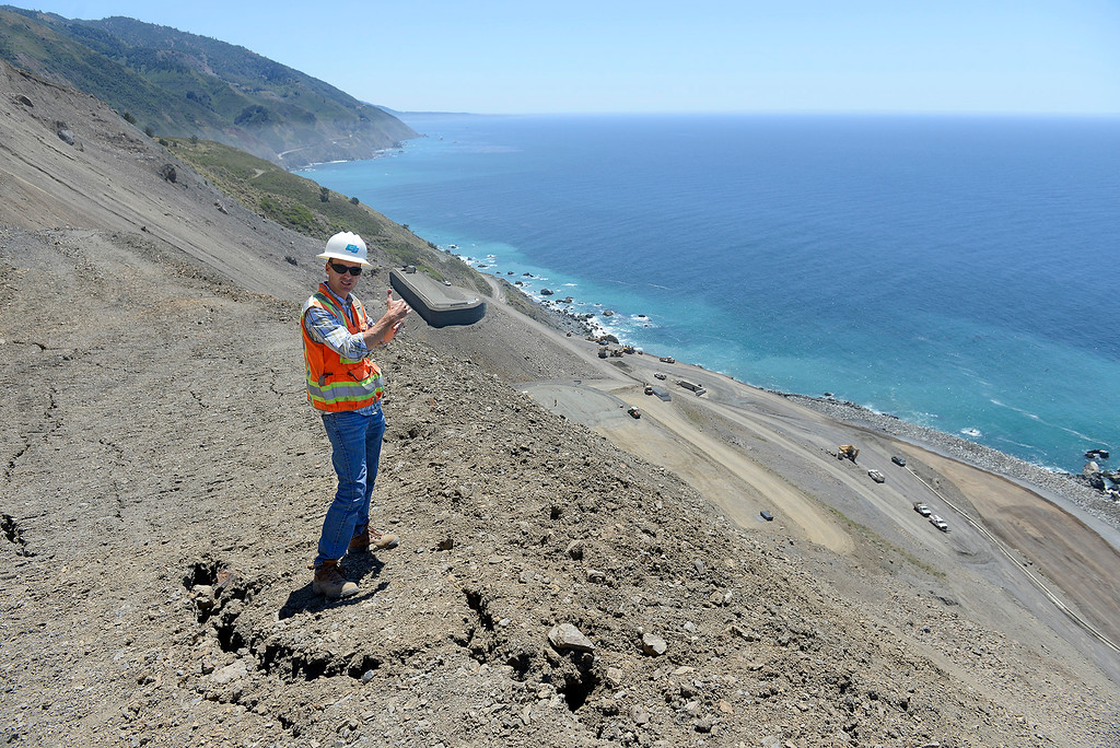 . Joe Erwin, Cal Trans project manager details the progress being made at the Mud Creek slide south of Big Sur on Highway One on Monday, May 7, 2018.  (Vern Fisher - Monterey Herald)