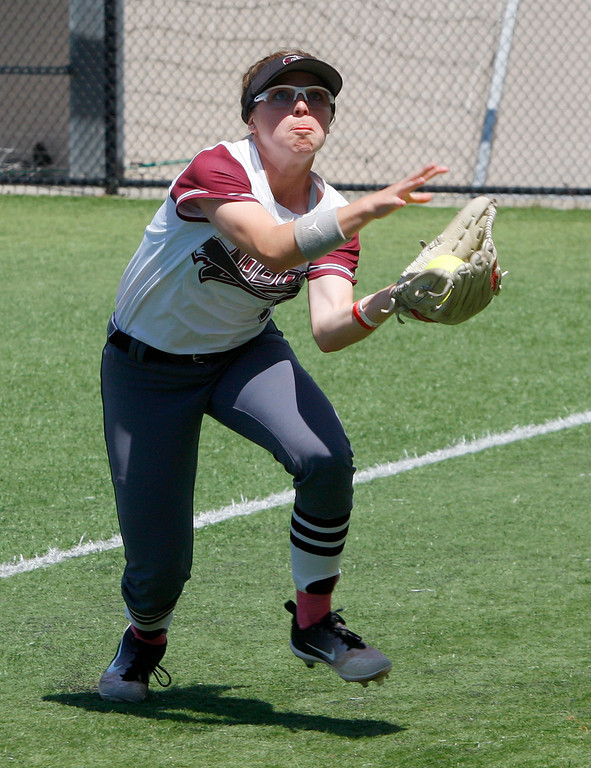 . Monterey Peninsula College\'s Lauren Salvati (2) makes a catch in the first inning during their game against College of the Sequoias on Friday, May 4, 2018.  (Vern Fisher - Monterey Herald)