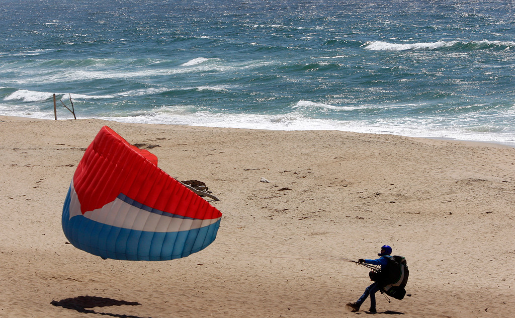 . Windy conditions at Marina State Beach on Friday, May 4, 2018.  (Vern Fisher - Monterey Herald)