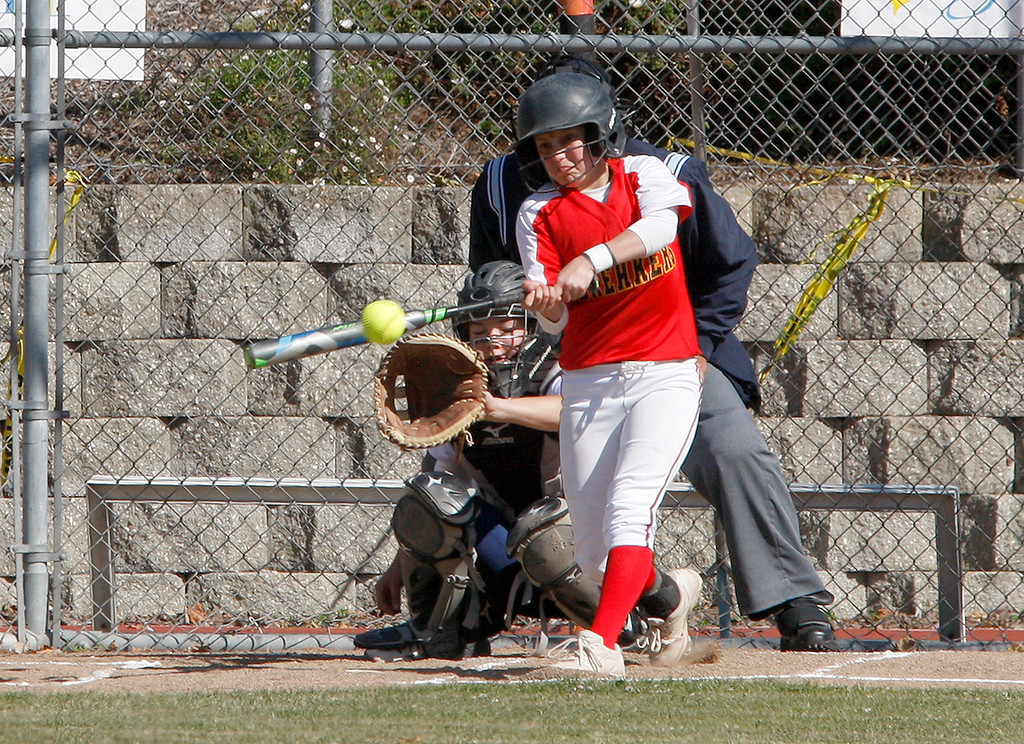. Pacific Grove High School\'s Vada Courtney (1) gets a base hit in the first inning during their game against Santa Catalina School in Monterey on Wednesday, May 9, 2018.  (Vern Fisher - Monterey Herald)