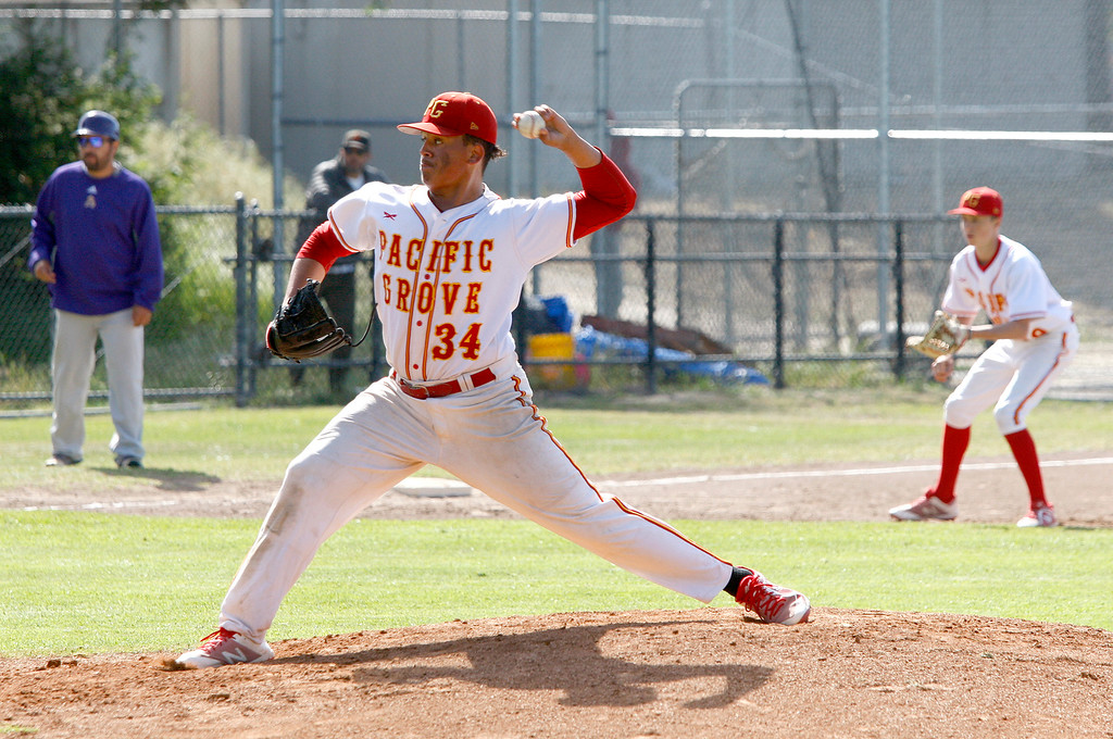 . Pacific Grove High School starting pitcher Kevahn Ebron (34) delivers a pitch during their game against Soledad High School in Pacific Grove on Thursday, May 10, 2018.  (Vern Fisher - Monterey Herald)