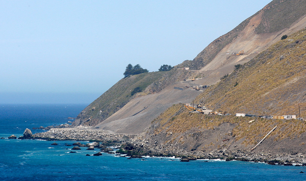 . Looking north over the Mud Creek slide on Highway One south of Big Sur on Monday, May 7, 2018.  (Vern Fisher - Monterey Herald)