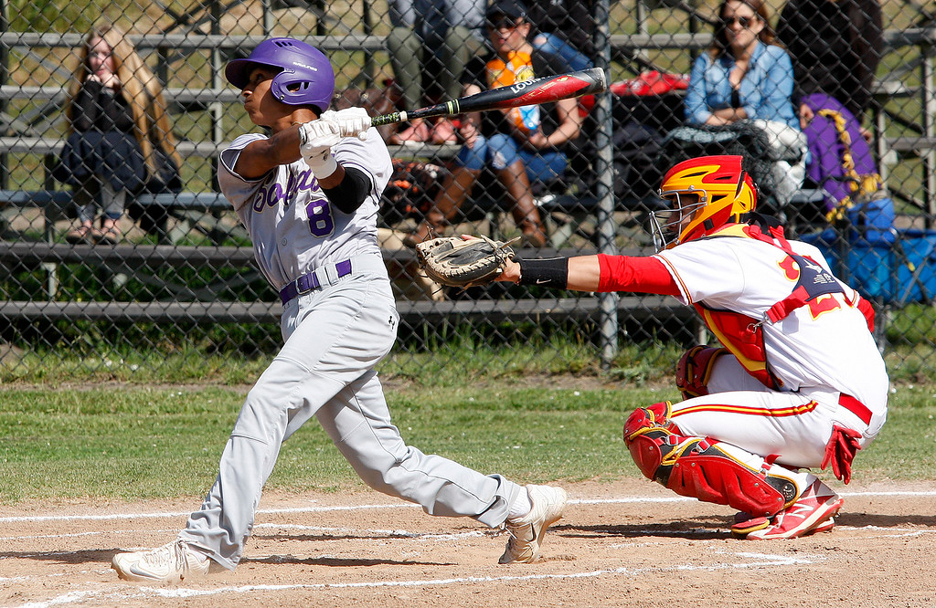 . Soledad High School\'s Aaron Rodriguez (8) makes contact in the first inning during their game against Pacific Grove High School in Pacific Grove on Thursday, May 10, 2018.  (Vern Fisher - Monterey Herald)