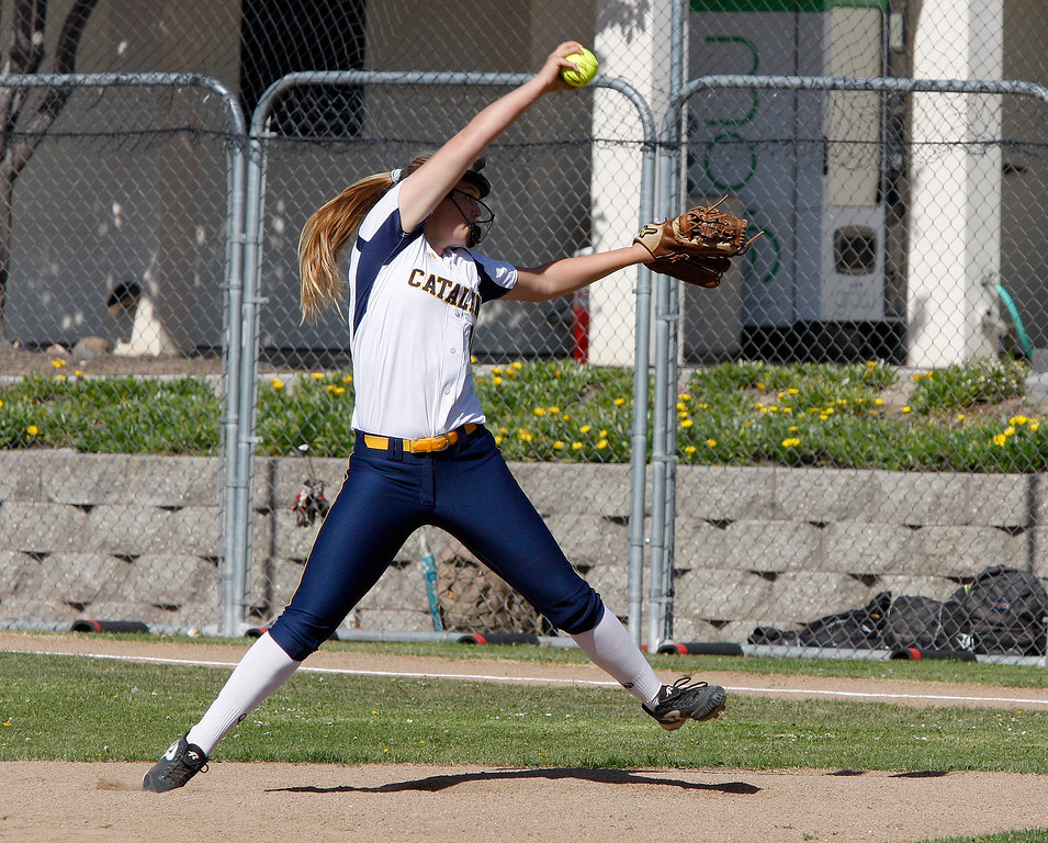 . Santa Catalina\'s Emma James (10) delivers a pitch during their game against Pacific Grove High School in Monterey on Wednesday, May 9, 2018.  (Vern Fisher - Monterey Herald)