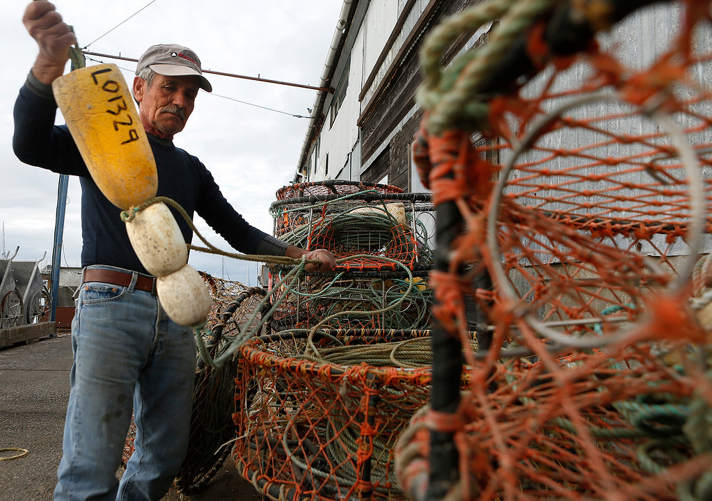 . Giovanni Nevoloso prepares crab traps for the upcoming commercial Dungeness crab season outside his business, Gino\'s Fish Market on Wharf No. 2 in Monterey on Wednesday November 8, 2017. Nevoloso owner the Gabbiano fishing boat and said he has been fishing for 60 years.  (David Royal/Herald Correspondent)