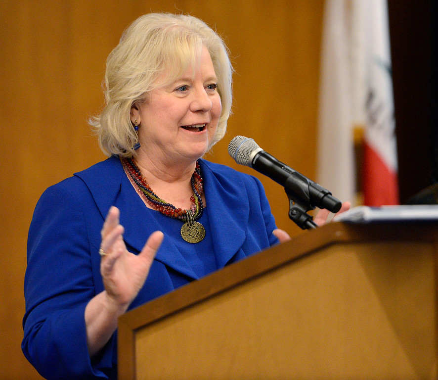 . Monterey County superintendent of public instruction Dr. Nancy Kotowski addresses the crowd at the third bi-annual Monterey County Educational Leadership Summit in Pebble Beach on Thursday, Nov. 16, 2017.  (Vern Fisher - Monterey Herald)