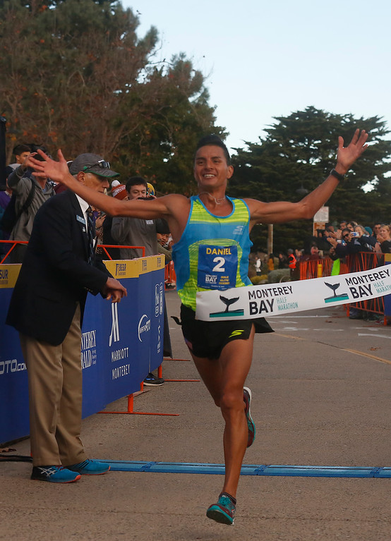 . Daniel Tapia of Prunedale, Calif. wins the Monterey Bay Half Marathon in Monterey, Calif. on Sunday November 12, 2017. (David Royal/Herald Correspondent)
