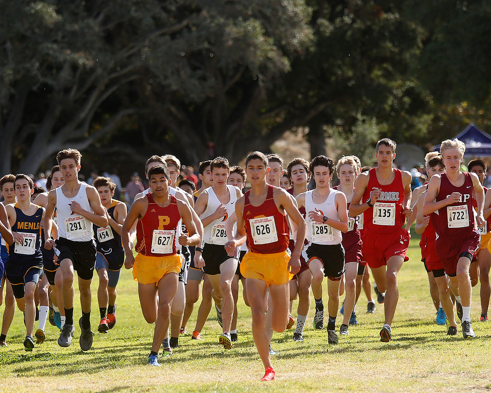. Palmas\' Sam Lavorado (626) and other runners start the Boys Division IV CCS Cross Country Finals at Toro Park in rural Salinas on Saturday November 11, 2017. Lavorado finished third. (David Royal/Herald Correspondent)