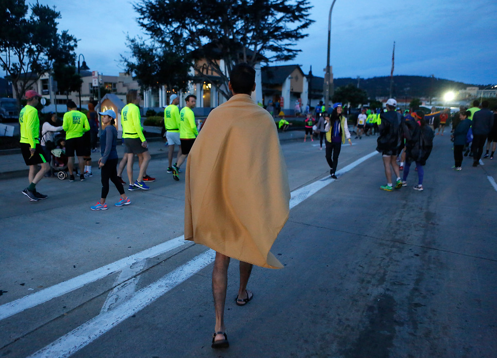 . Abi Nath of India arrives at the start of the Monterey Bay Half Marathon before running in sandals in Monterey, Calif. on Sunday November 12, 2017. (David Royal/Herald Correspondent)
