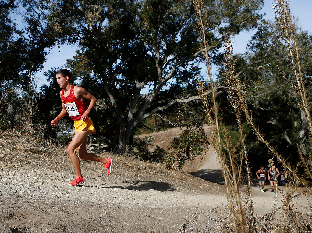 . Palmas\' Sam Lavorado runs his way to a third place finish in the Boys Division IV CCS Cross Country Finals at Toro Park in rural Salinas on Saturday November 11, 2017. (David Royal/Herald Correspondent)