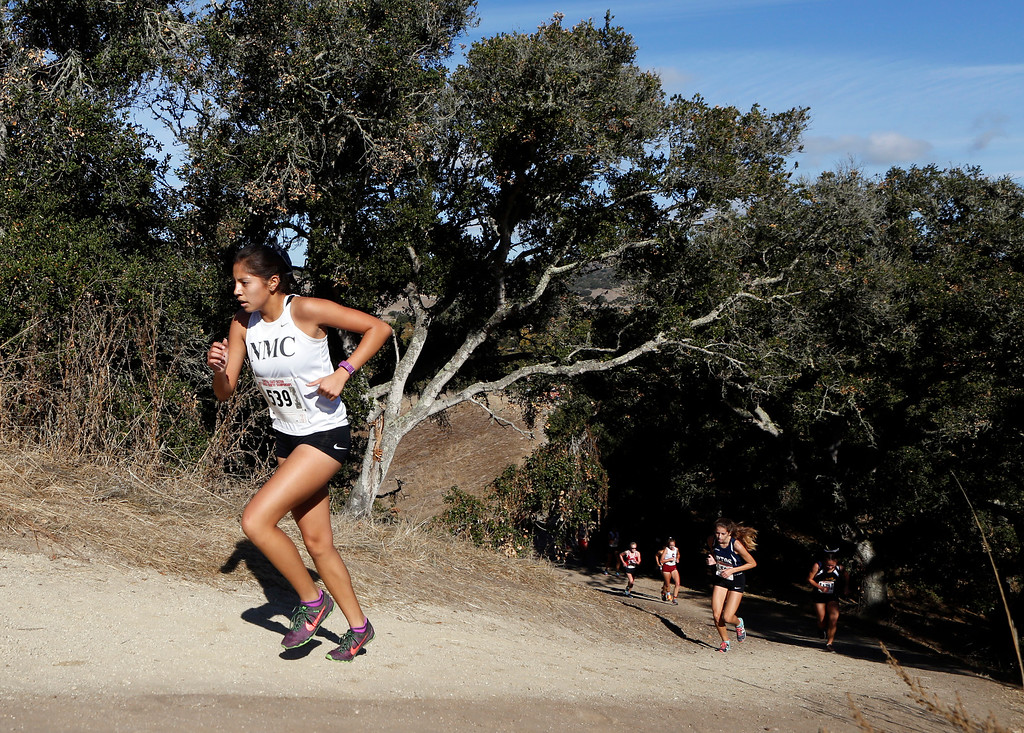 . North Monterey County\'s Faith Mora runs during the Girls Division III CCS Cross Country Finals at Toro Park in rural Salinas on Saturday November 11, 2017. (David Royal/Herald Correspondent)