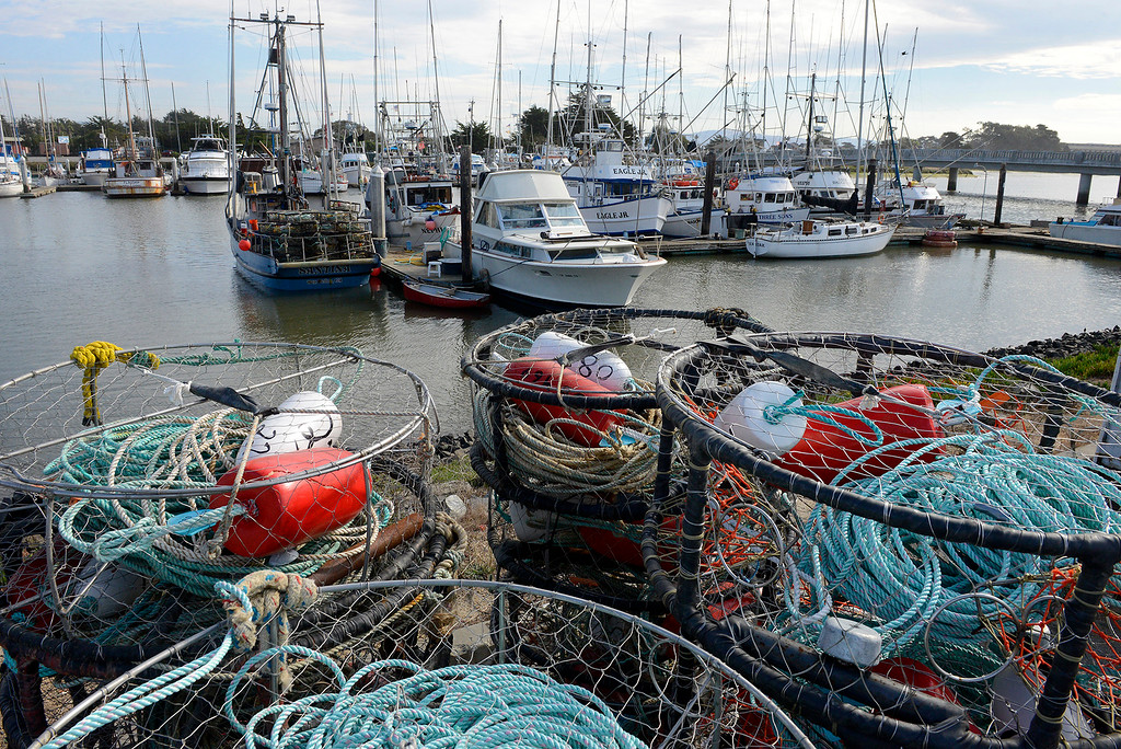 . Commercial crab pots sit on the side of Sandholdt Road in Moss Landing on Wednesday, Nov. 15, 2017.  (Vern Fisher - Monterey Herald)