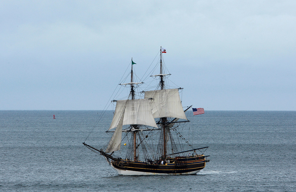 . The tall ship Lady Washington sails off Monterey on Thursday, Nov. 16, 2017.  (Vern Fisher - Monterey Herald)
