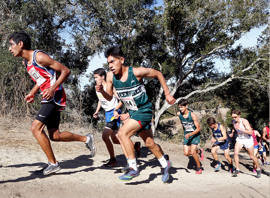 . Greenfields Rigo Garcia, center, runs up a hill on his way to a fourth place finish in the Boys Division III CCS Cross Country Finals at Toro Park in rural Salinas on Saturday November 11, 2017. (David Royal/Herald Correspondent)