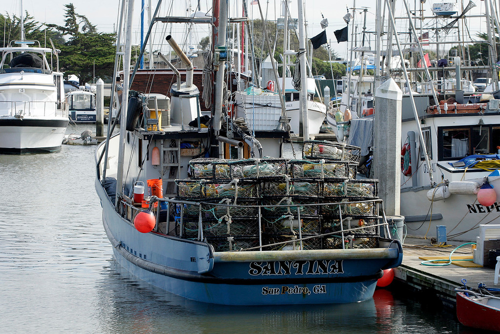 . The commercial fishing boat Santina from San Pedro sits at dock with crab pots on board in Moss Landing on Wednesday, Nov. 15, 2017.  (Vern Fisher - Monterey Herald)