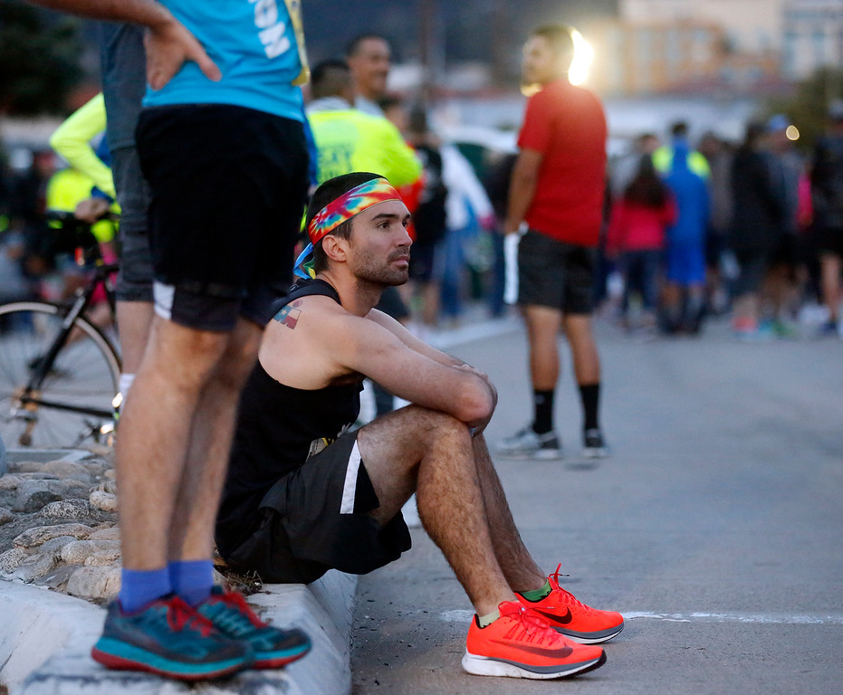 . Wesley Wheeler of Austin waits before the start of  the Monterey Bay Half Marathon in Pacific Grove and Monterey, Calif. on Sunday November 12, 2017. (David Royal/Herald Correspondent)