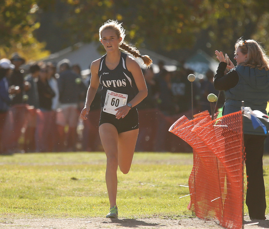 . Apto\'s Maria Zlatunich runs to a second place finish during the Girls Division III CCS Cross Country Finals at Toro Park in rural Salinas on Saturday November 11, 2017. (David Royal/Herald Correspondent)
