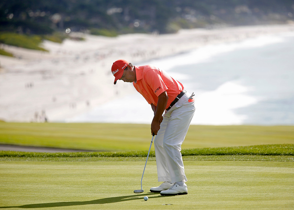 . Tom Penance Jr. putts on the 13th green during the final round of the TaylorMade Pebble Beach Invitational golf tournament at Pebble Beach Golf Links on Sunday November 19, 2017. Penance finished tied for second at -6. (David Royal/Herald Correspondent)
