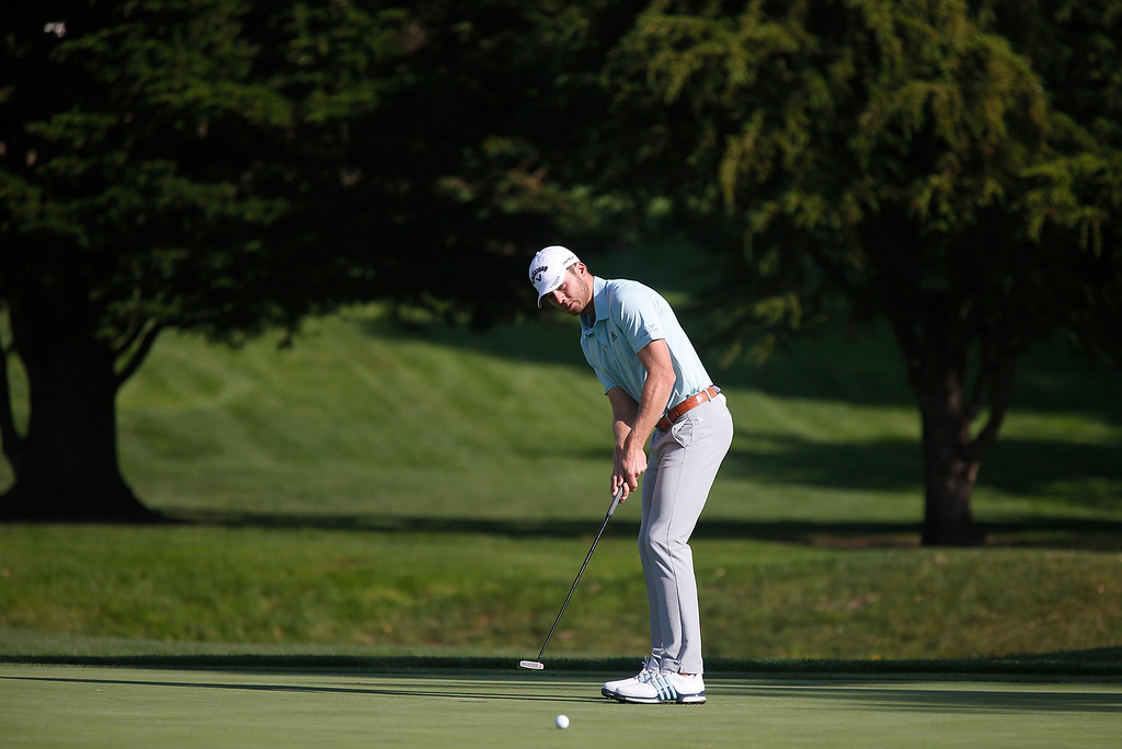 . Sebastian Cappelen tracks his tee shot on the 16th green during the final round of the TaylorMade Pebble Beach Invitational golf tournament at Pebble Beach Golf Links on Sunday November 19, 2017. (David Royal/Herald Correspondent)
