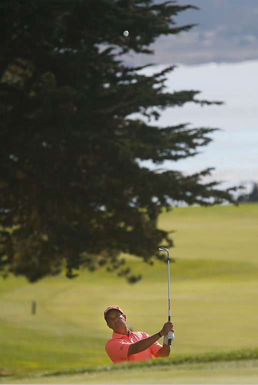 . Tom Penance Jr. chips his ball onto the 14th green during the final round of the TaylorMade Pebble Beach Invitational golf tournament at Pebble Beach Golf Links on Sunday November 19, 2017. Penance finished tied for second at -6. (David Royal/Herald Correspondent)